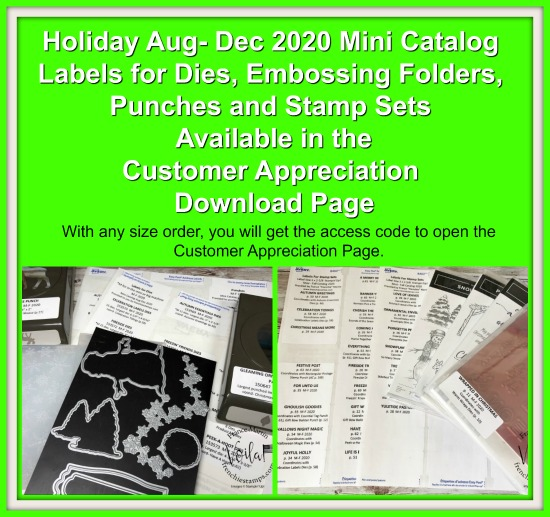 Organize your Stampin'Up! 2020 Holiday Catalog product with labels for Punches, Dies, Embossing Folder and Stamp Sets.