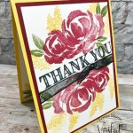 Simple card with Beautiful Friendship stamp set. Striking color combo Daffodil Delight, Cherry Cobbler and Old Olive.